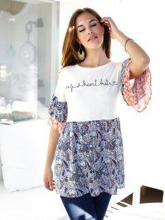 Camiseta de manga corta con volantes y flores