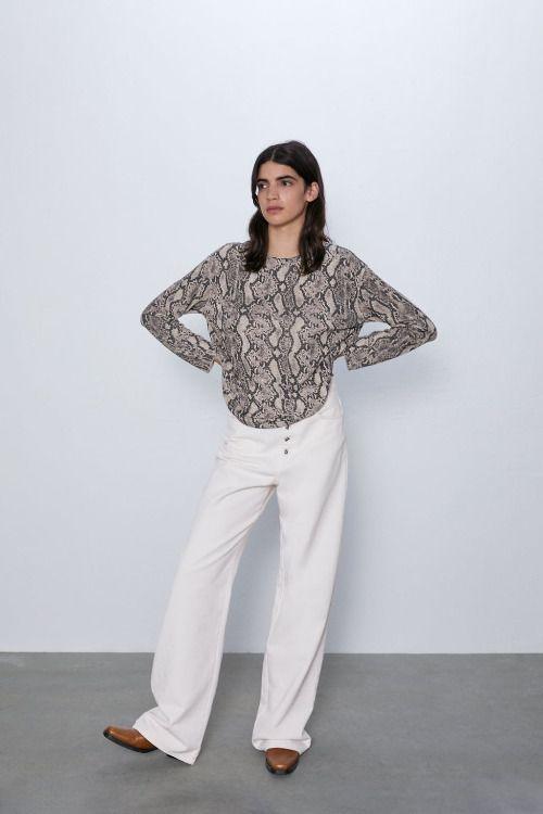Camiseta de manga larga y estampado de serpiente de Zara