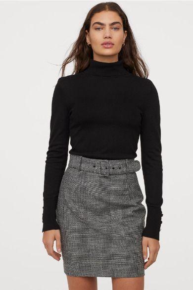 Falda de tubo con cinturón de H&M