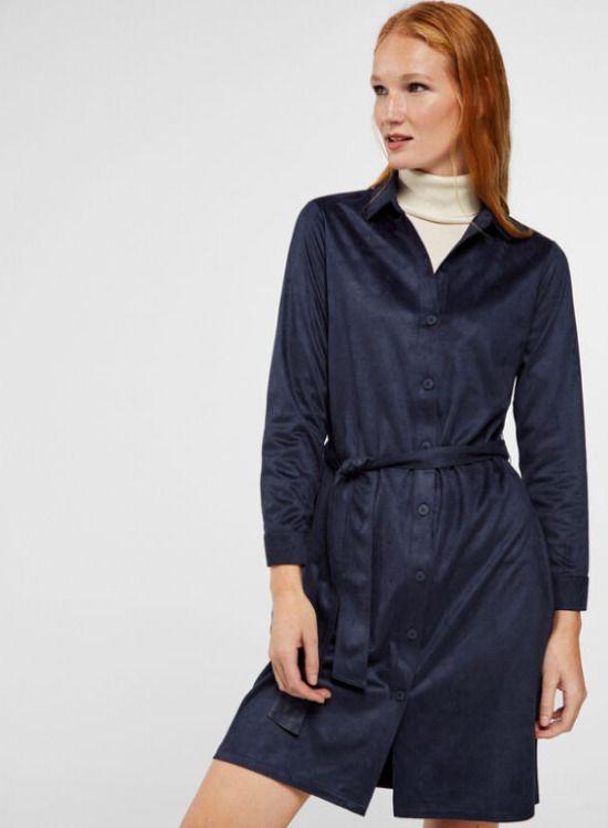 Vestido camisero efecto ante en color azul marino / 14,99 euros