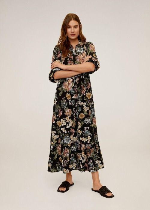 Vestido camisero largo con estampado floral de Mango