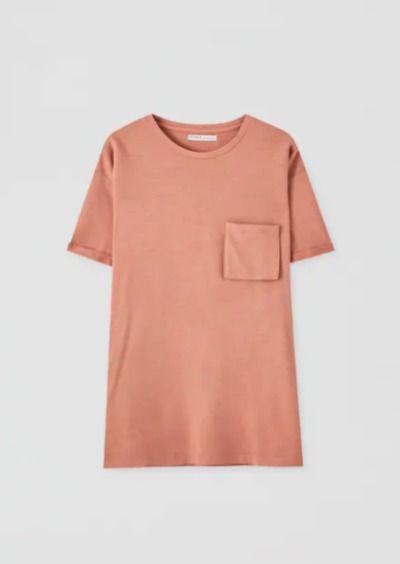 Camiseta de manga corta naranja con bolsillo