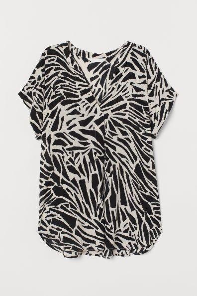Camisa con efecto arrugado y estampado animal de H&M