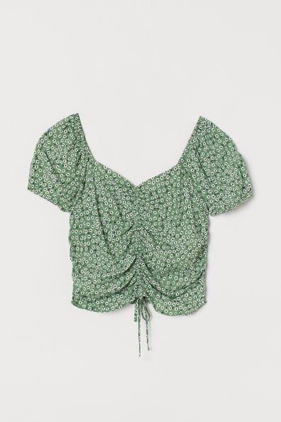 Camisa corta con cordón y estampado floral de H&M