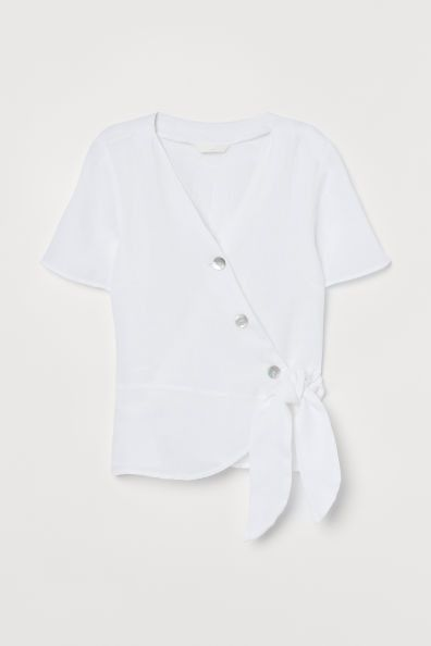 Camisa cruzada de lino con botones de H&M