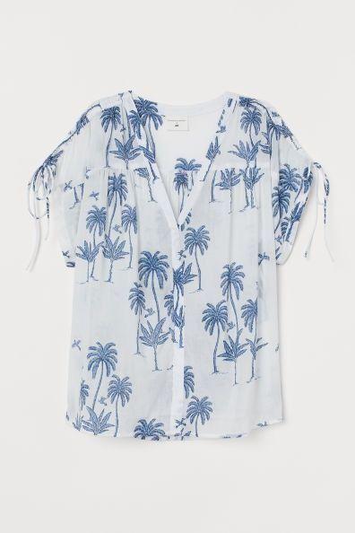 Camisa de algodón con estampado de palmeras de H&M