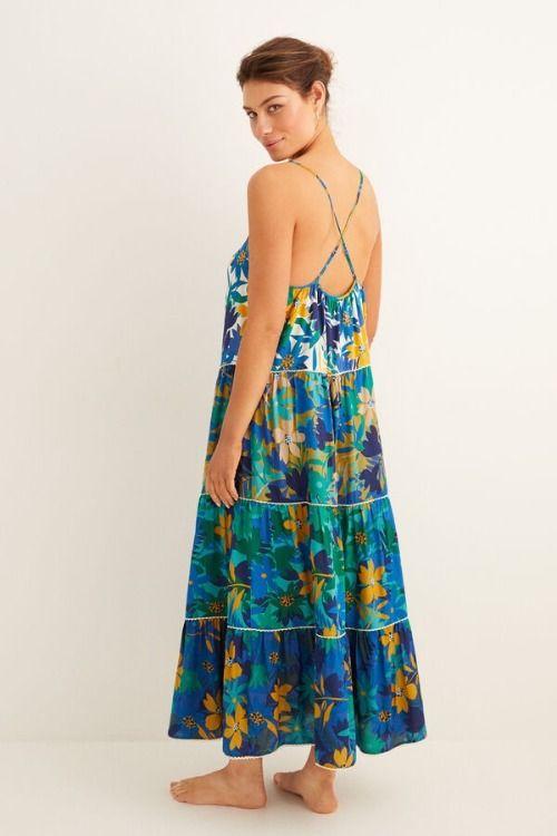 Vestido largo de flores con tirantes finos