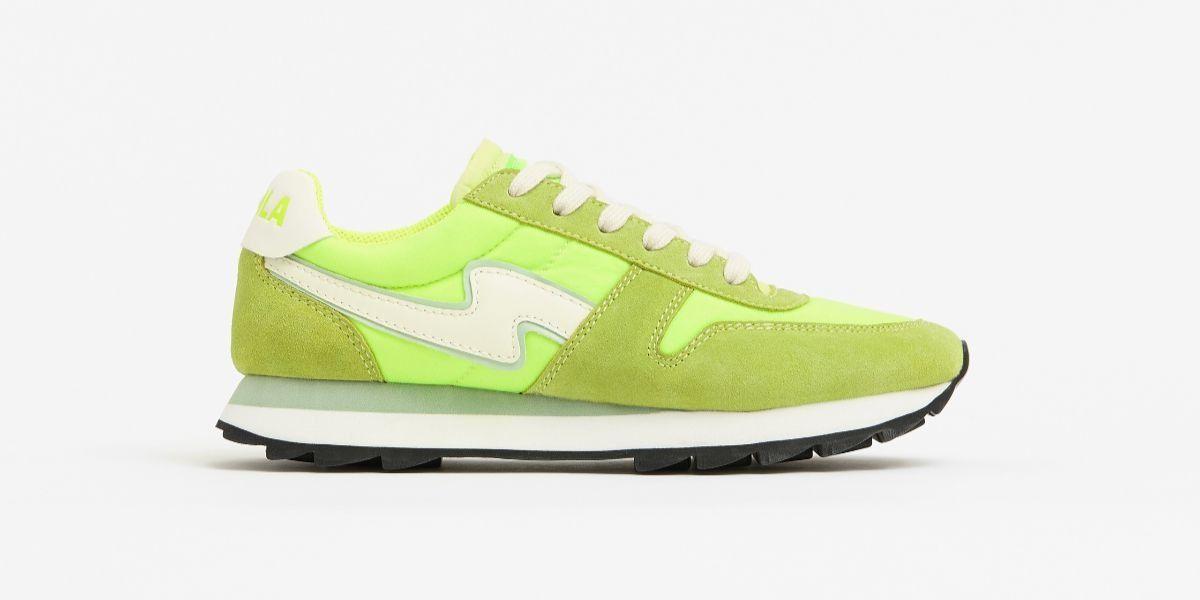 Zapatillas deportivas estilo jogger en verde neón
