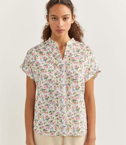 Camisa de lino con print floral