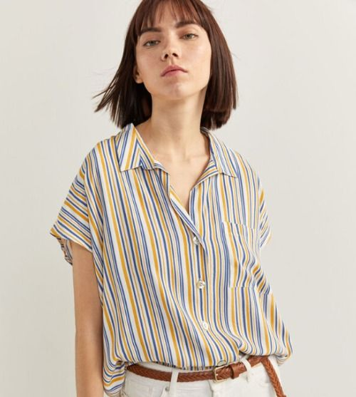 Camisa de manga corta con estampado de rayas