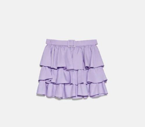 Falda mini de volantes con cinturón en color malva