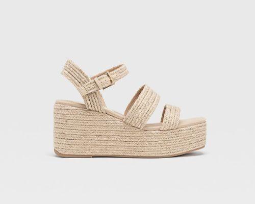 Sandalias de plataforma de rafia trenzadas