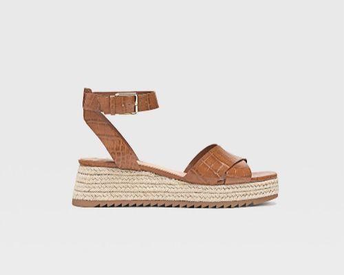 Sandalias de plataforma de yute grabadas con pulsera al tobillo