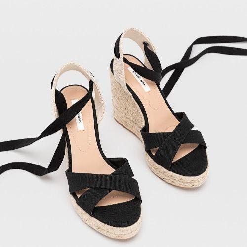 Sandalias de plataforma de yute negras atadas