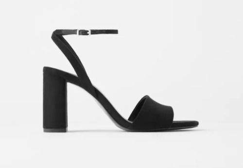 Sandalias de tacón ancho negras con pulsera al tobillo
