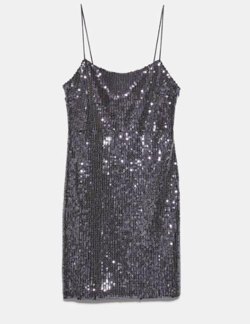 Vestido de lentejuelas plateado de Zara