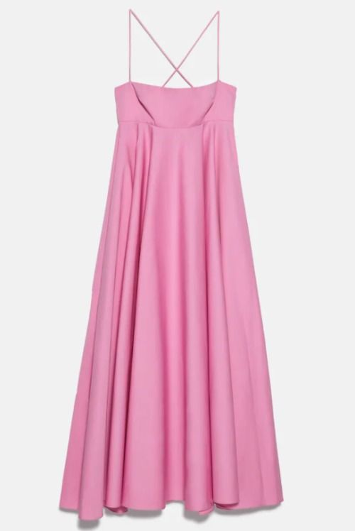 Vestido de popelín rosa de Zara
