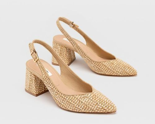 Zapatos destalonados de rafia
