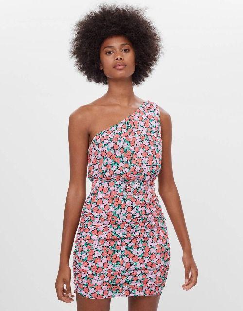 Vestido corto con escote asimétrico y print floral