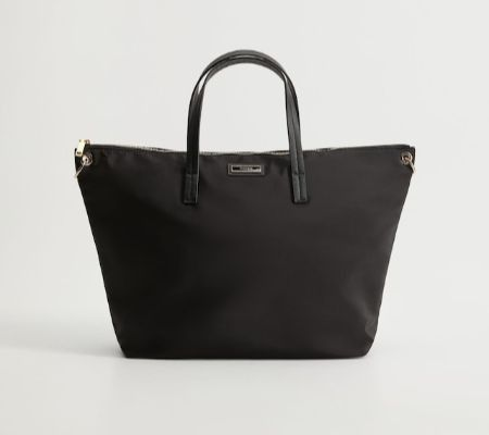 Bolso shopper de nylon negro