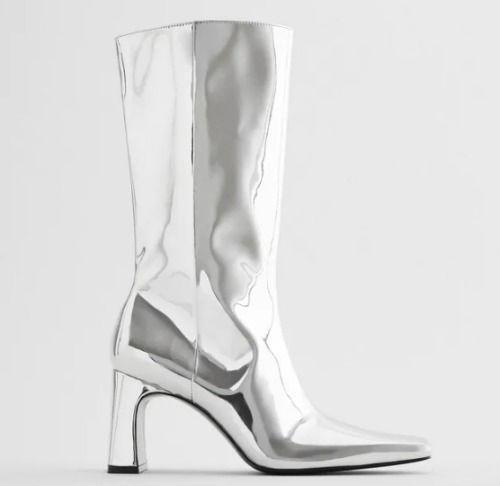 Botas altas metalizadas de Zara