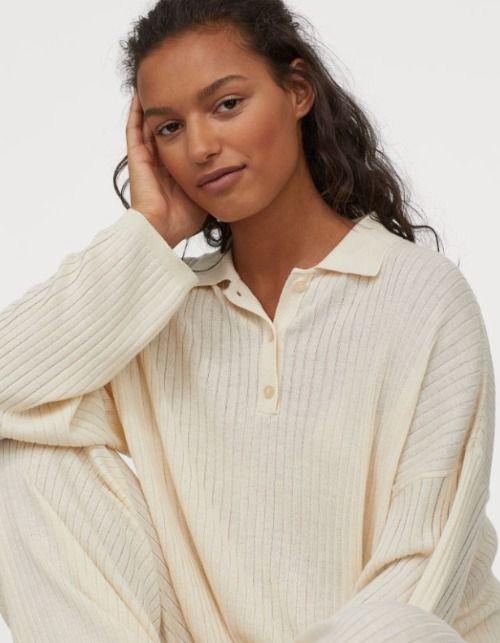 Jersey de canalé con cuello camisero