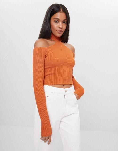 Jersey de hombros descubiertos naranja