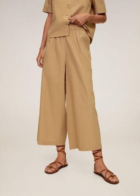 Pantalones culotte de algodón en beige