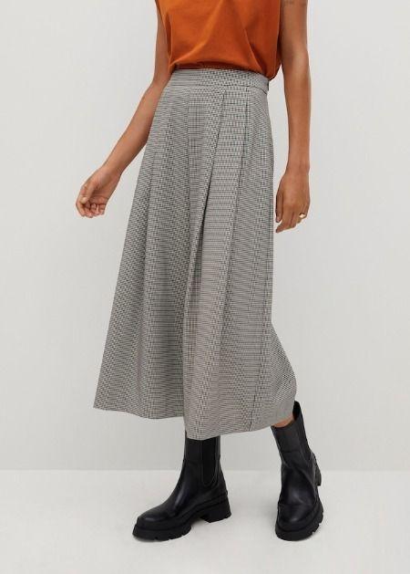 Pantalones culotte de pinzas en color gris