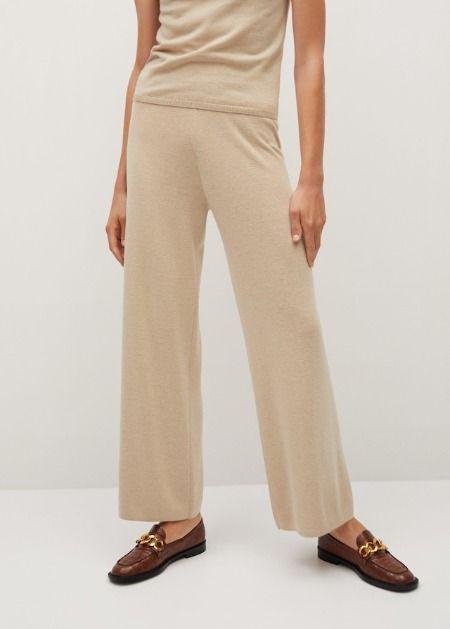 Pantalones de punto canalé en beige