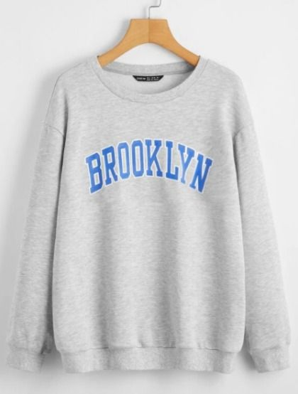 "Sudadera gris con estampado ""Brooklyn"""