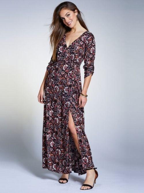 Vestido largo cruzado con estampado floral