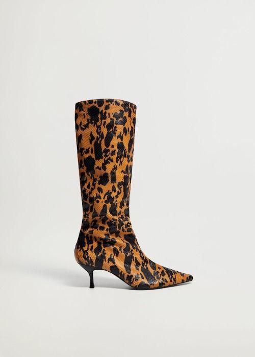 Botas de caña arrugada animal print