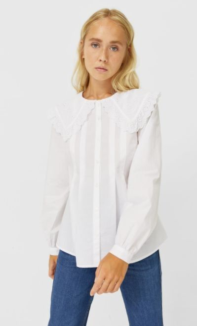 Camisa blanca de popelina con cuello Peter Pan