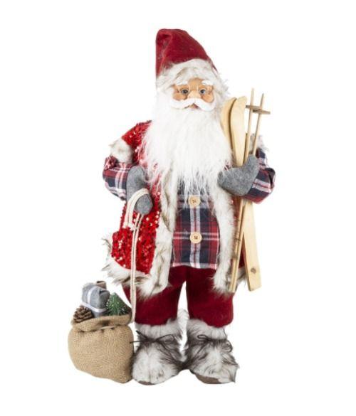 Papá Noel con esquís - Figuras de Navidad grandes