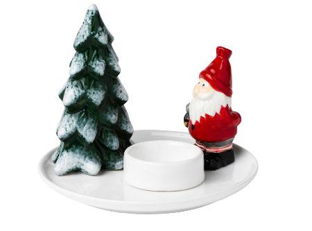 Portavelas de Papá Noel con abeto