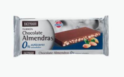 Turrón de chocolate con almendras sin azúcares añadidos