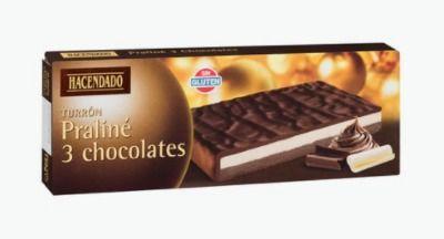 Turrón praliné 3 chocolates